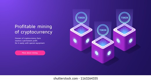 Mining of cryptocurrency, Blockchain technology. Vector illustration of Token mining, concept of blockchain Equipment in Isometric style for Landing page. Purple, violet and blue colors