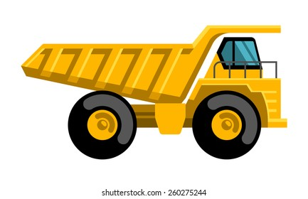 Mining dump truck tipper big heavy yellow car flat design vector icon