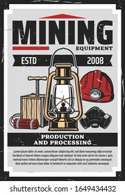 1859 geology miners mining lamp plate illustration. Mine print antique machinery and equipment of mines engraving
