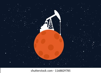 Mining and extraction of raw materials on the colonized Mars. Extraterrestrial colonization of the red planet - space as source of minerals and commodities. Vector illustration