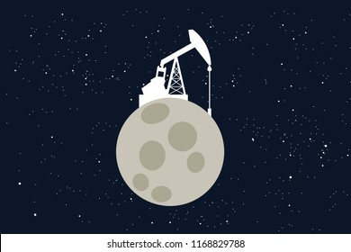 Mining and extraction of raw materials on the colonized Moon. Extraterrestrial colonization of the cosmos - space as source of minerals and commodities. Vector illustration