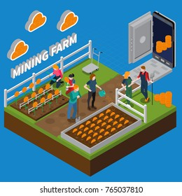 Mining farm isometric composition with virtual account, coins on garden beds on blue background vector illustration