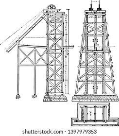 Mining Headgear Hoist Tower is a wood or steel frame carrying hoisting ropes winding tower hoist frame pit frame shafthead frame vintage line drawing or engraving illustration.