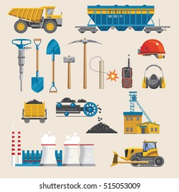 Mining icon set with isolated colorful decorative symbols of tools extracting equipment vehicles coal and buildings vector illustration