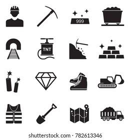 Mining Icons. Black Flat Design. Vector Illustration.