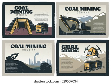 Mining industry emblem design conceptual compositions set with mountain scenery and vintage decorative professional gear images vector illustration