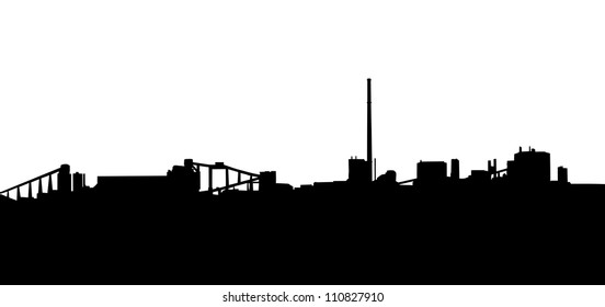 Mining Industry Horizon Silhouette in Isolation with Chimneys