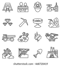 mining industry icons set. mining operations collection. Thin line design