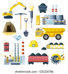 Mining industry isolated colorful elements set with realistic images of different factory technics and tools symbols vector illustration