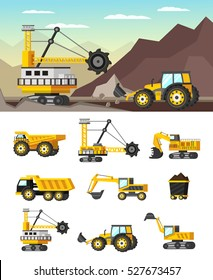 Mining industry orthogonal concept with rock formations extraction and set of icons with machineries isolated vector illustration