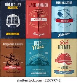 Mining industry posters collection in retro style with workers and equipment ribbons and rays isolated vector illustration