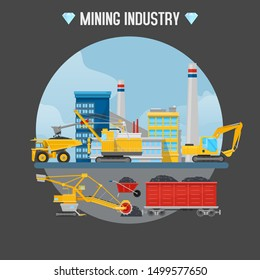 Mining industry vector illustration. Excavator loaders, hydraulic pile drilling machines, tractors at mining industry construction site with diamonds icons and typography.