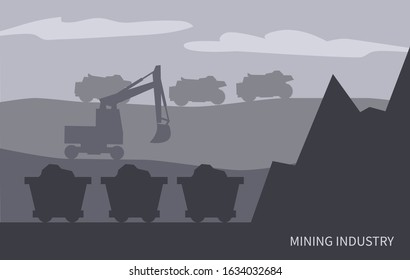 Mining industry works on field. Excavator and mine, wagons with loaded mineral resources or coal. Extraction of fossil fuels and transportation of production. Machinery and quarries, vector in flat