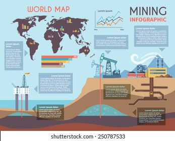 Mining infographics set with drilling industry and mineral extraction process symbols and charts vector illustration