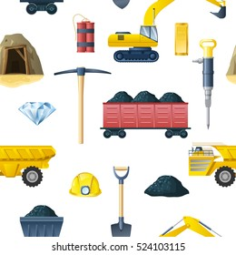 Mining insudtry isolated elements pattern with essential tools and technics for mining coal and diamond symbols vector illustration