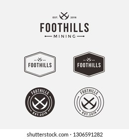 Mining logo icon set on sela, emblem vintage style