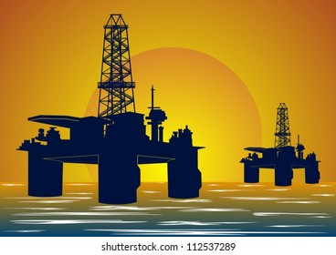 Mining and quarrying. Oil drilling rigs.
