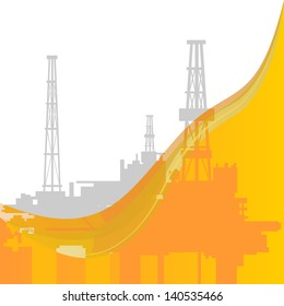 Mining and quarrying. Oil rigs. The illustration on a white background.