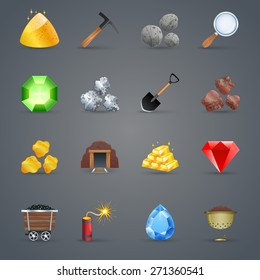 Mining strategy game cartoon icons set with gem picking tools isolated vector illustration