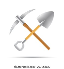 Mining tools, shovel and pickaxe vector illustration isolated on white