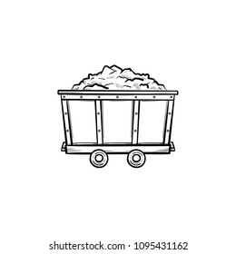Mining trolley with coal hand drawn outline doodle icon. Coal cart as mining industry concept vector sketch illustration for print, web, mobile and infographics isolated on white background.
