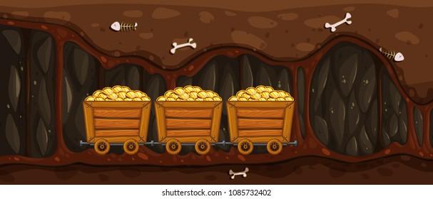 Mining Trolley Full of Gold illustration