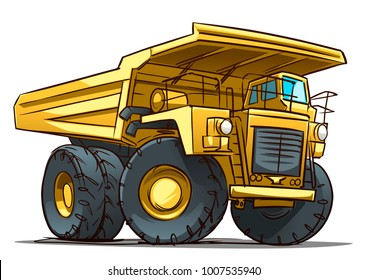 mining truck. cartoon illustration