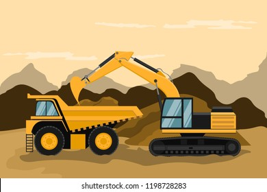 Mining truck and caterpillar backhoe doing construction and mining work