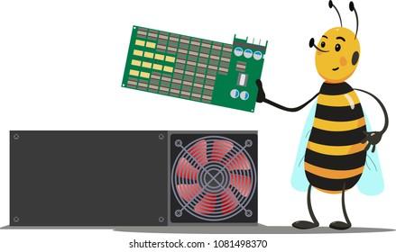 Mining unit cartoon bee holding video card