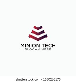 minion tech logo vector concept with awesome gradient and simple styles