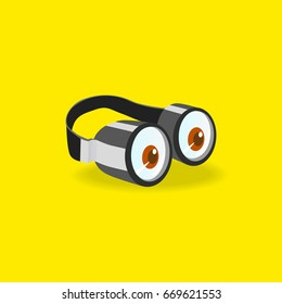 Minions goggles icon concept. Two eyes glasses. Hand drawn cartoon style. Fancy sight design, pop-eyed funny. Vector illustration of goggle isolated on yellow color background. Emotion design element