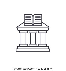 Ministry of education line icon concept. Ministry of education vector linear illustration, symbol, sign