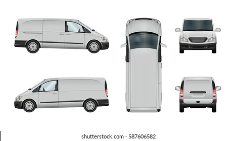 Minivan car vector mock-up. Isolated template of delivery van on white background. Vehicle branding mockup. View from side, front, back and top. All elements in the groups on separate layers.