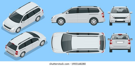 Minivan Car vector template on background. Compact crossover, SUV, 5-door minivan car. View isometric, front, rear, side, top.