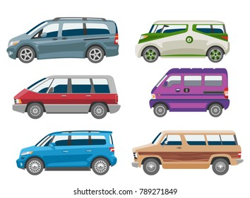 Minivan car vector van auto vehicle family minibus vehicle and automobile banner isolated citycar on white background illustration
