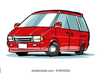 Minivan. Family car. Cartoon illustration