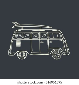 Minivan. Hand drawn illustration hippie bus with surf board. Summer vacation.