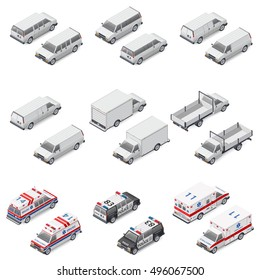 Minivan passenger, cargo, board mini truck commercial van, special police and ambulance set isometric icons vector graphic illustration
