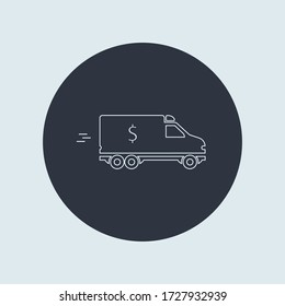 minivan with sign US dollar. bank car icon. vector flat simple line symbol on round
