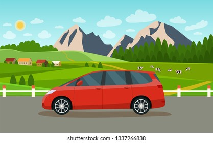 Minivan. Summer landscape with village and herd of cows on the field. Vector flat style illustration.
