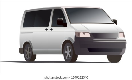 Minivan, three quarter view. Minibus. Work car. Car for a large family. Passenger Transportation. Modern flat vector illustration.