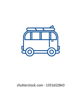 Minivan for travel line icon concept. Minivan for travel flat  vector symbol, sign, outline illustration.