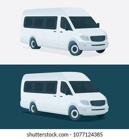 Minivan vector illustration. Isolated city minibus. Small corporate transport.