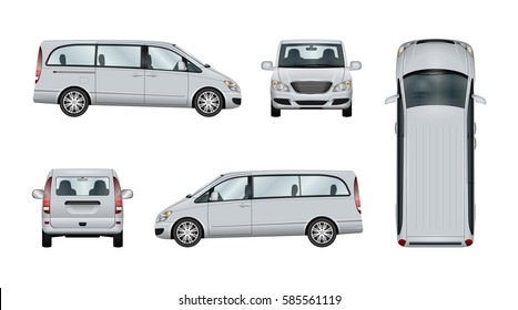 Minivan vector template. Isolated family car on white background. The ability to easily change the color. View from side, back, front and top. All elements in the groups on separate layers.