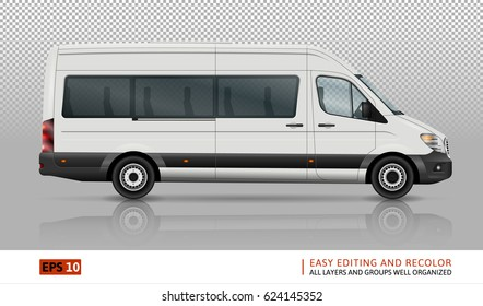 Minivan vector template on transparent background. Isolated city minibus. All layers and groups well organized for easy editing and recolor. View from right side