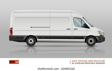 Minivan vector template on transparent background. Cargo car isolated. All layers and groups well organized for easy editing and recolor. View from right side.