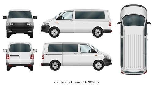 Minivan vector template on white. Isolated city minibus. Vehicle branding mockup. All elements in groups on separate layers. The ability to easily change the color. View from side, front, back, top.