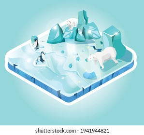 Mini-world of ice, island or piece of land, isometric view