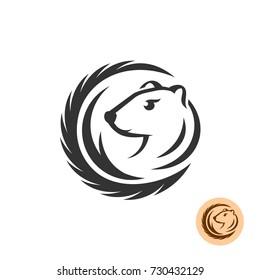 Mink elegant logo. Fashion fur industry farm theme.