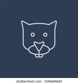 Mink icon. Trendy flat vector line Mink icon on dark blue background from animals  collection.